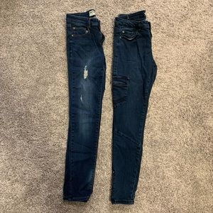 LOT -2 pairs of blue jeans-ripped & zipper details